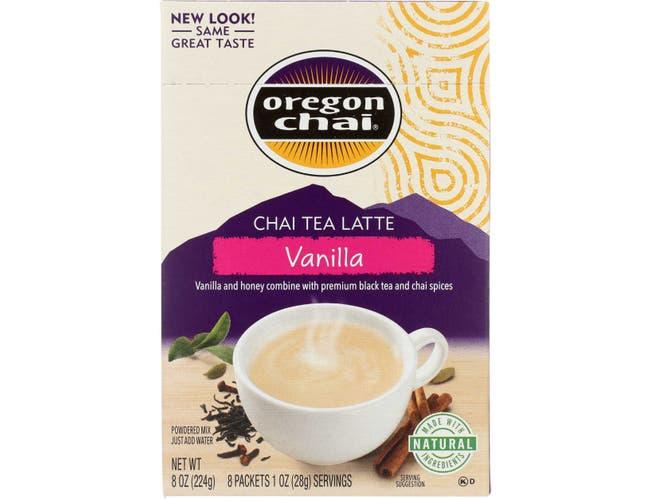 Oregon Chai Vanilla Chai Tea Latte Mix, 8 count per pack -- 6 per case