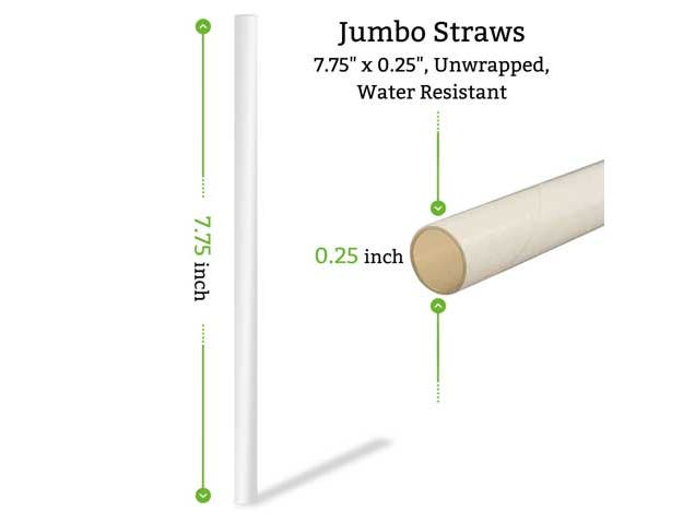Astraws White Jumbo Wrapped Water Resistant Paper Straws, 7.75 x 0.25 inch -- 3,000 per case