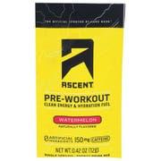 Ascent Watermelon Pre Workout Single Serve Energy Drink Mix, 0.42 Ounce -- 15 per case