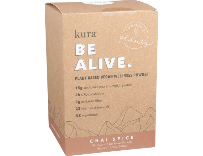 Kura Be Alive Chai Spice Plant Based Vegan Wellness Powder, 10 count per pack -- 1 each