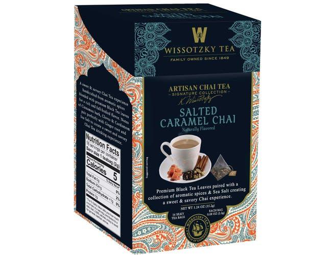 Wissotzky Salted Caramel Chai Tea, 16 tea bags per pack -- 6 per case