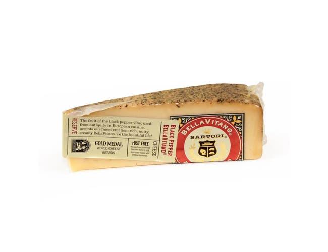Sartori Reserve Black Pepper BellaVitano Cheese Wedge, 5 Ounce -- 12 per case.