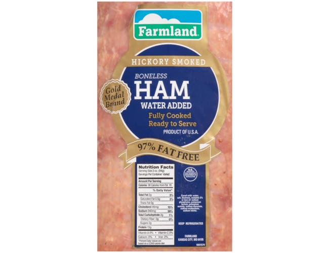 Farmland Gold Medal Water Added Smoked Endless Ham, 10/12 Piece -- 2 per case.