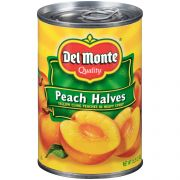 Del Monte Yellow Cling Peach Halves in Heavy Syrup, 0.95 Ounce -- 12 per case.