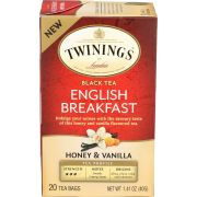 Twinings Honey and Vanilla English Breakfast Black Tea, 20 count per pack -- 6 per case