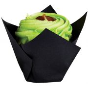 Brooklace Black Small Baking Tulip Cup, 2 x 3.5 inch -- 1000 per case.