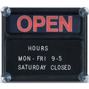 Polyethylene Open/Closed Sign Boards. 3/4 inch White Helvetica character set included. Size: 14 x 12 inch -- 1 each.