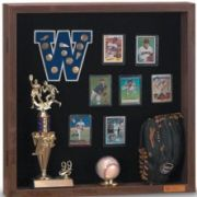 Background - White Memorabilia Case with walnut stained wood frame. Size: 48 inch X 36 inch -- 1 each.