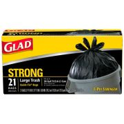 Glad Strong Quick Tie Black Large Trash Bags, 21 count per pack -- 9 per case.