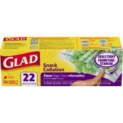 Glad Snack Collection Zipper Bag, 22 count per pack -- 12 per case.