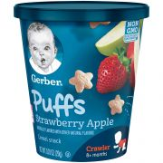 Gerber Strawberry Apple Halloween Cups Puffs Cereal Snack, 7 Ounce -- 8 per case.