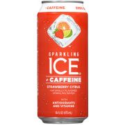 Sparkling Ice Caffeine Strawberry Citrus Sparkling Water, 16 Fluid Ounce Can -- 12 per case.