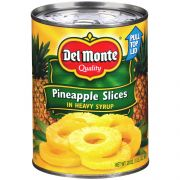 Del Monte Pineapple Slices in Heavy Syrup, 20 Ounce Can -- 12 per case.