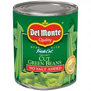 Del Monte No Salt Added Cut Green Beans, 8 Ounce -- 12 per case.