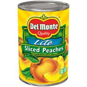 Del Monte Lite Sliced Peaches, 15 Ounce -- 12 per case.