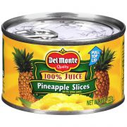 Del Monte Sliced Pineapple in 100 Percent Juice, 8 Ounce Can -- 12 per case.