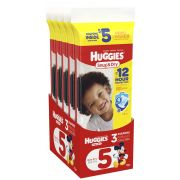 Huggies Size 5 Snug and Dry Diapers, 3 count per pack -- 10 per case.