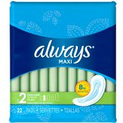 Always Long Maxi Pad without Wings, 22 count per pack -- 6 per case.