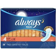 Always Overnight No Wing Maxi Pad, 28 count per pack -- 6 per case.