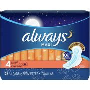 Always Overnight Maxi Pad with Wings, 26 count per pack -- 6 per case.