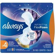 Always Overnight Infinity Pad with Wings, 13 count per pack -- 12 per case