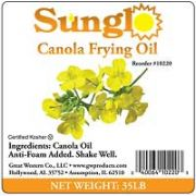 Sunglo Canola Frying Oil, 35 Pound -- 1 each.