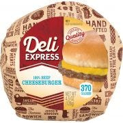 Deli Express Hot to Go Lunch and Breakfast Cheeseburger Sandwich -- 12 per case