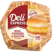 Deli Express Cheese Bacon and Egg Bagel, 4.7 Ounce -- 12 per case