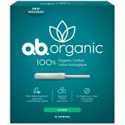 Ob Organic Super White Cotton Tampons - 18 count per pack -- 4 packs per case