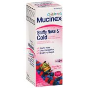 Mucinex Childrens Mixed Berry Flavor Stuffy Nose and Cold Liquid, 4 Fluid Ounce -- 6 per case