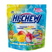 Hi-Chew Original and Topical Mix Fruity Chewy Candy - Stand Up Pouch Floor Shipper -- 24 per case