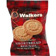 Walkers Pure Butter Shortbread Rounds Cookies, 2 count per pack -- 22 per case