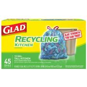 Glad Translucent Blue Recycling Tall Kitchen Drawstring Bag, 45 count per pack -- 4 per case