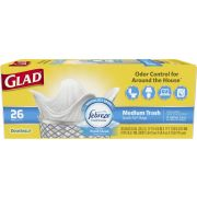 Glad OdorShield Medium Trash Fresh Clean Quick Tie Bag, 26 count per pack -- 6 per case