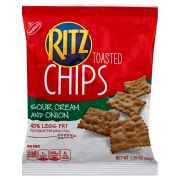 Krafts Ritz Sour Cream and Onion Toasted Chips Cracker, 1.75 Ounce -- 60 per case.