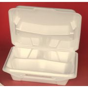 Genpak Black 9.25 x 9.25 x 3 inch Large 3 Compartment Close Off Lid Hinged Container, 100 count per pack -- 2 per case.