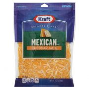Kraft Zip Pak Natural Shredded Mexican Style Cheddar Jack Cheese, 8 Ounce -- 12 per case.