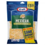 Kraft Mexican Style Shredded Four Cheese, 8 Ounce -- 12 per case.