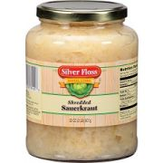 Silver Floss Shredded Sauerkraut -- 32 oz. glass jar, 12 jars per case.