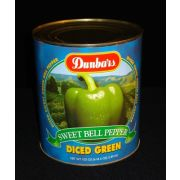 Moody Dunbar Diced Green Peppers - no. 10 can, 6 cans per case.  Regular Pack