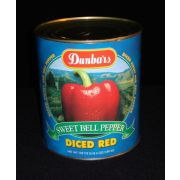 "Moody Dunbar 1/4"" Diced Red Pepper - no. 10 can,  6 cans per case.  Heavy Pack"