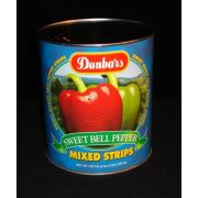 Moody Dunbar Red & Green Pepper Strips -  no.10 can, 6 cans per case
