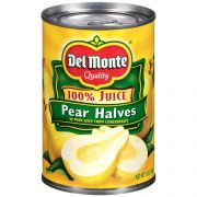 Delmonte Pear Halves in 100 Percent Juice, 15 Ounce Can -- 12 per case.
