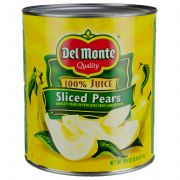 Del Monte Sliced Pears in 100 Percent Juice, 105 Ounce Can -- 6 per case.