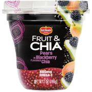 Delmonte Fruit and Chia Pears in Blackberry Flavored Chia, 7 Ounce Plastic Cups -- 12 per case.