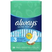 Always Ultra Thin Size 3 Extra Long Super Pad with Flexi Wings, 28 count per pack -- 6 per case.