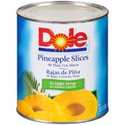 Dole Pineapple Thin Sliced in Light Syrup, 107 Ounce -- 6 per case.