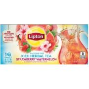 Lipton Family Size Strawberry Watermelon Iced Herbal Tea, 16 tea bags per pack -- 6 per case