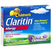 Claritin Childrens 5 Mg Grape Allergy Chewable Tablet, 10 count per pack -- 36 per case.