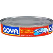 Goya Oval Sardines in Hot Sauce, 15 Ounce -- 24 per case.